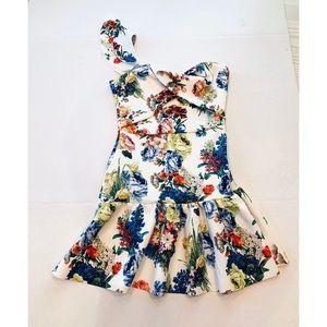 ASOS One Shoulder Floral Mini Dress